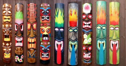 100cm Handcarved Painted Tiki Bar Garden Pub Wall Mask Man Cave Decoration Gift