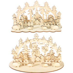 Wooden-Christmas-Sleigh-Santa-Claus-Snowman-Stag-Home-Xmas-Ornaments-DIY-Decor