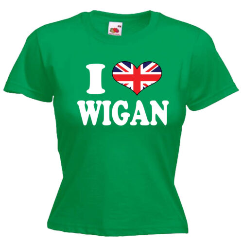 I Love Heart Wigan Ladies Lady Fit T Shirt 13 Colours Size 6-16
