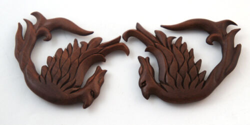 Pair Handmade Crafted Carved Flying Fire Phoenix Sono Wood Ear Plugs Hangers US