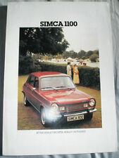 Simca 1100 range brochure c1977