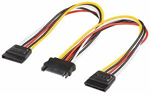 15-Pin-Sata-Male-to-2-Sata-Female-Power-Splitter-Y-Cable-20cm-uk-seller-uk-ship