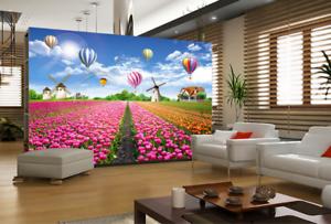 Papel Pintado Mural De Vellón Campo De Tulipán colorido 2 Paisaje Fondo Pansize