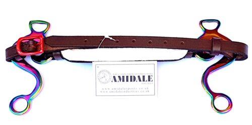 Amidale Regenbogen Hackamore Gebisslose Trense Gepolstert Leder Neu mit Etikett