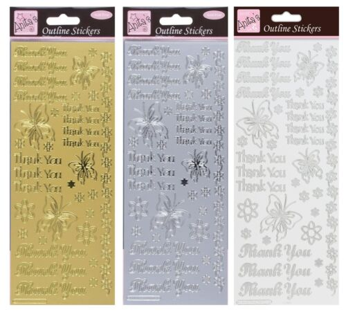 Anita/'s · Outline Stickers Peel offs · Card Crafts · Gold Silver Letters Numbers