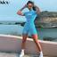Kliou Women Skinny bodysuit Short Sleeve Playsuit Reflective Turtleneck