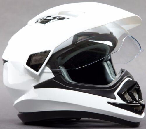 Adult Dual Sport White Helmet Motorcycle Motocross DOT