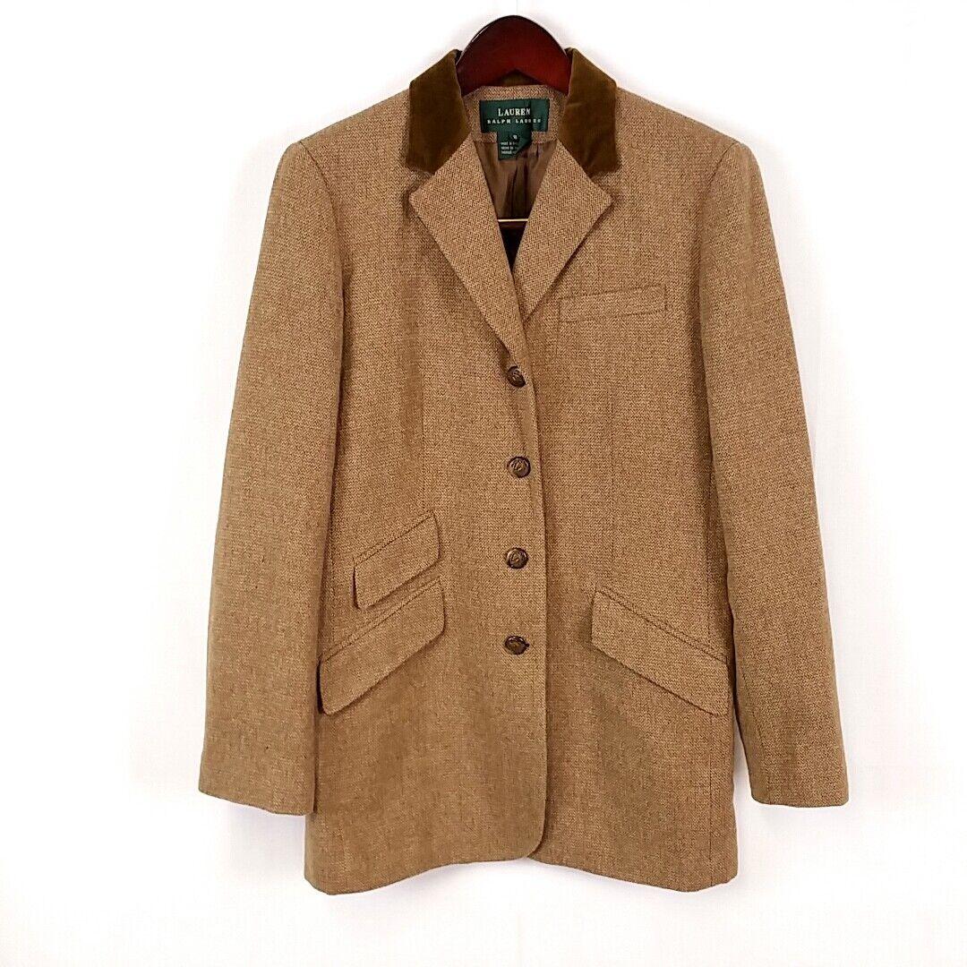 Ralph Lauren Womens sz 8 100% Lambswool Brown Coat Notched Collar Button Down