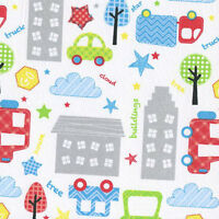 Child's Play: In The City Cars Trees Building 100% Cotton Fabric By The Yard