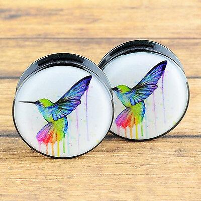 Pair Acrylic Hummingbird Screwed Ear Flesh Tunnels Plugs Stretcher Gauges