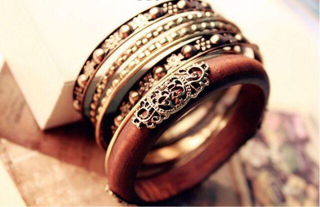 US Hot Woman Vintage Wood Carved Multi Bangle Wristband Cuff Bangle Bracelets
