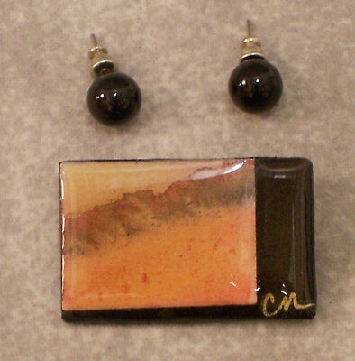 Imported From Abroad Lucite Pin Brooch & Earrings Black Abstract Design Peach Round Marble Posts Lot 100% Original Jewelry Sets