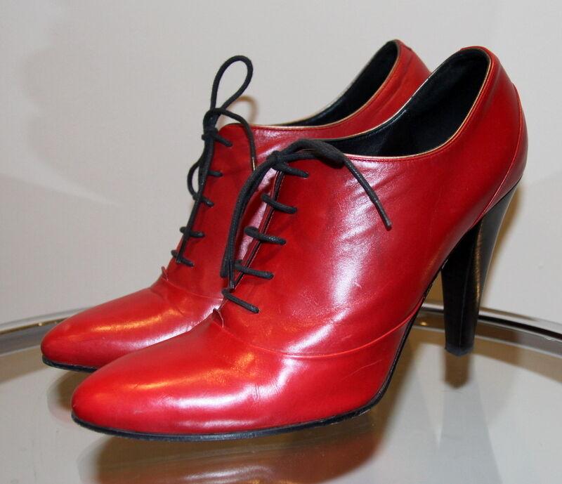 Botines de piel Hugo Boss, color rojo
