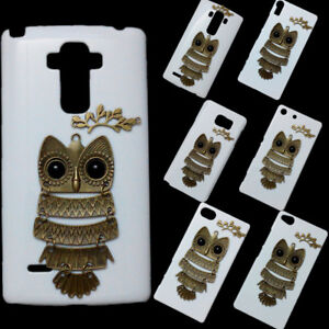 Cute Fashion Retro Metal Owl Branch Leaves Back Hard Skin Case Cover for Phones