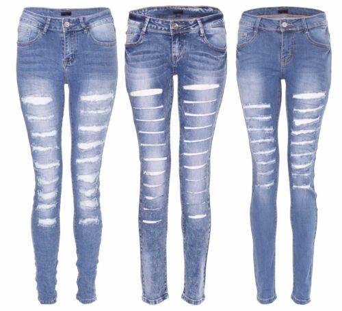 Damen Denim Mid Rise Super Skinny Ripped Distressed Jeans Gewaschene Jeans Hose