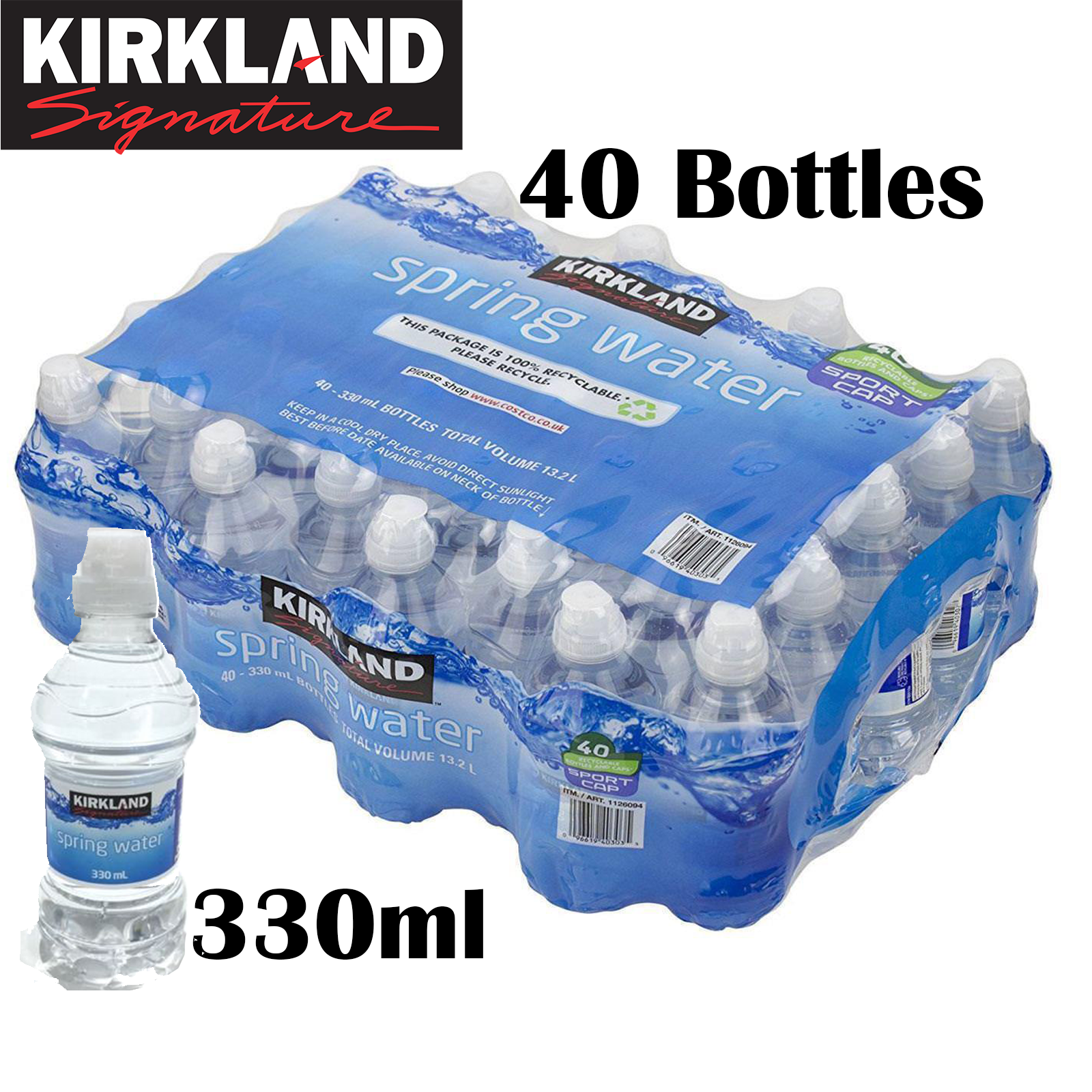 Kirkland Natural Spring Drinking Water Still Bottled 500ml X 40 Bottles