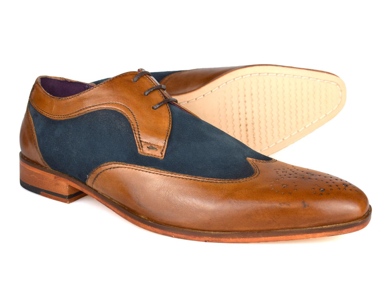 Gucinari Lansky Tan & bluee Leather Formal Brogue shoes AMP16-1 Free UK P&P