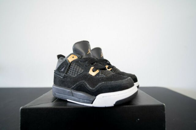 size 40 56342 e1832 Nike Air Jordan IV 4 Retro NDS Black/Metallic Gold-White Size 8C (A22)