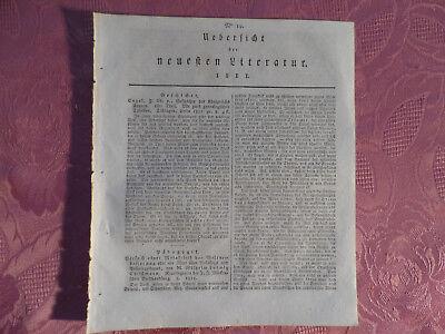 Begeistert Alte Zeitung Von 1811 Übersicht Der Neusten Literatur Nr. 19, über 200 Jahre Alt Buy One Give One