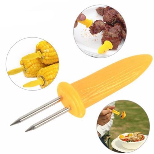 10Pcs Corn On The Cob Skewers Sweetcorn Holder Easy Grip  Prongs N7