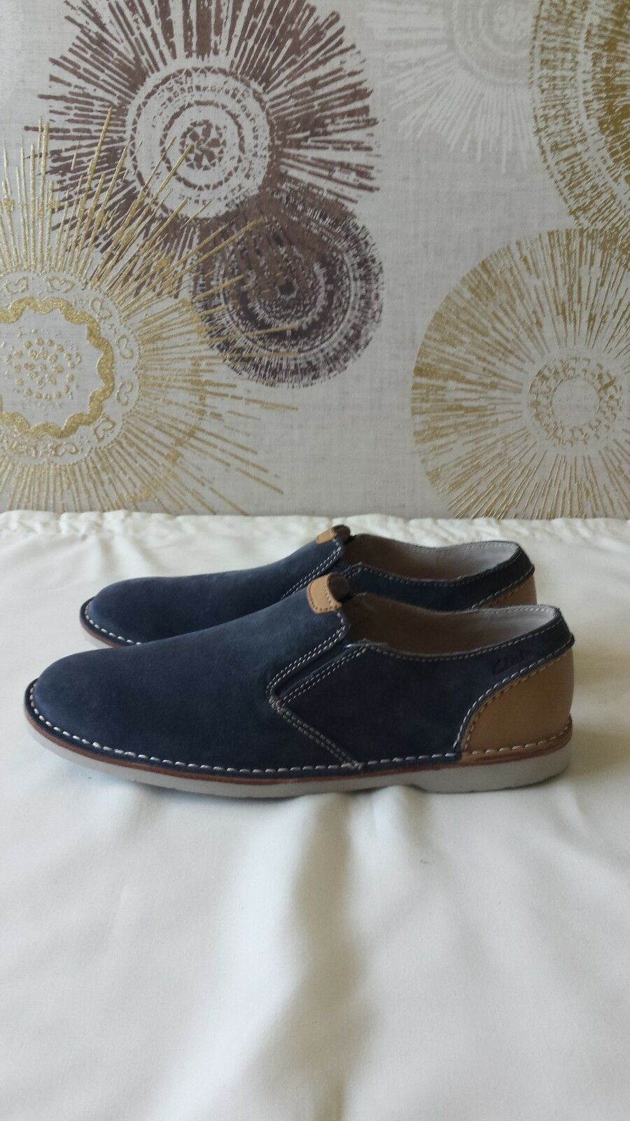 Clarks mens , slip on shoes, EHinton asst(W) Hinton Easy , mens Blue Suede, UK8 41aa42