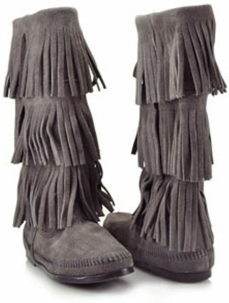 Minnetonka 3 Layer Fringe Boot Grey Suede SIZE SIZE Suede 8   7a5b89