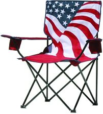 American Flag Pattern Portable Folding Quad Chair Stain and Moisture Resistant