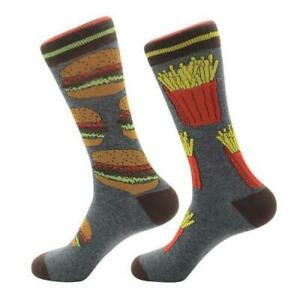 Mens-Crew-Socks-Hamburger-amp-Chips-Sock-Novelty-Funky-Crazy-Funny