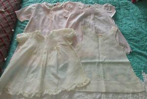 4-Vintage-Baby-Infant-Embroidered-Pintuck-White-amp-Pink-Dresses-amp-Slip