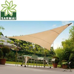 Tenda da sole telo ombreggiante vela Triangolare Colore Ecrù Beige 5 m parasole