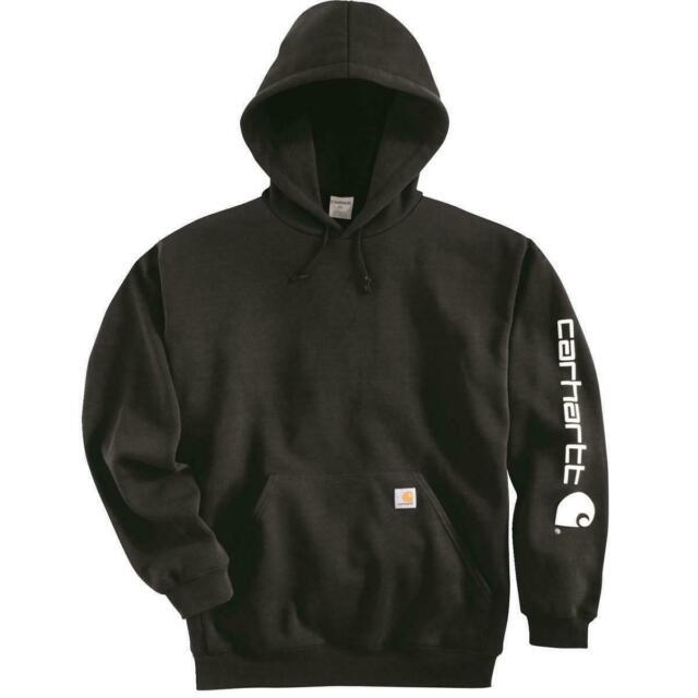 CARHARTT Men's Authentic K288 Signature Sleeve Logo Hooded Sweatshirt Black 2XL