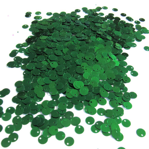 Sequins Kelly Green 6mm Paillettes Flat Top Hole ~750 pieces Loose