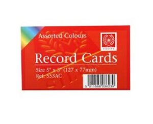 Silvine-record-cards-5-034-x-3-034-127x77mm-ruled-pack-of-100-in-assorted-colour