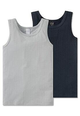 SCHIESSER Jungen Unterhemd 2 Pack Shirt ohne Arm Grau//Graphit Uni Tank Top
