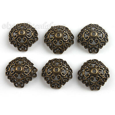 60x New Antique Bronze Flower Bead End Cap 18mm Jewellery Making Findings C
