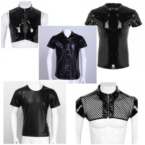 Men Shiny PU Leather Short Sleeve Vest Top Harness Tank Tops T-Shirt Clubwear