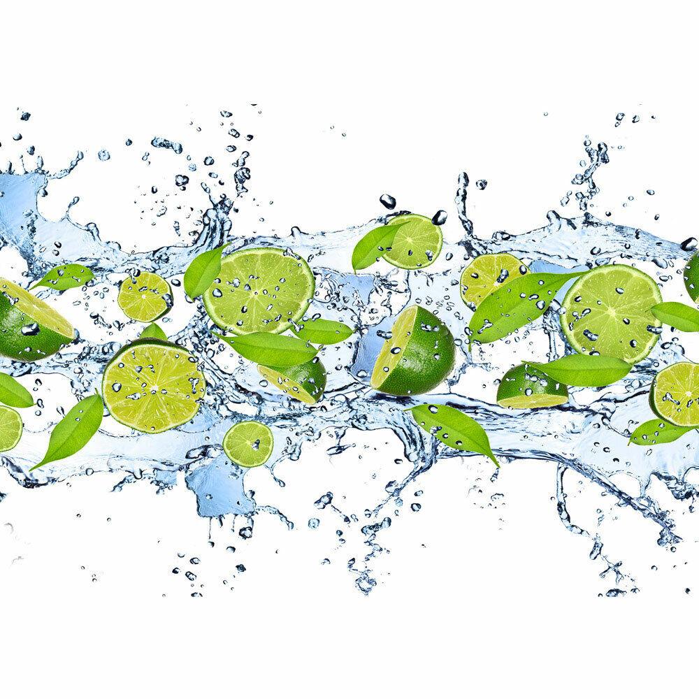 Fototapete Limetten Wasser Blätter Tropfen Obst Frucht liwwing no. 864
