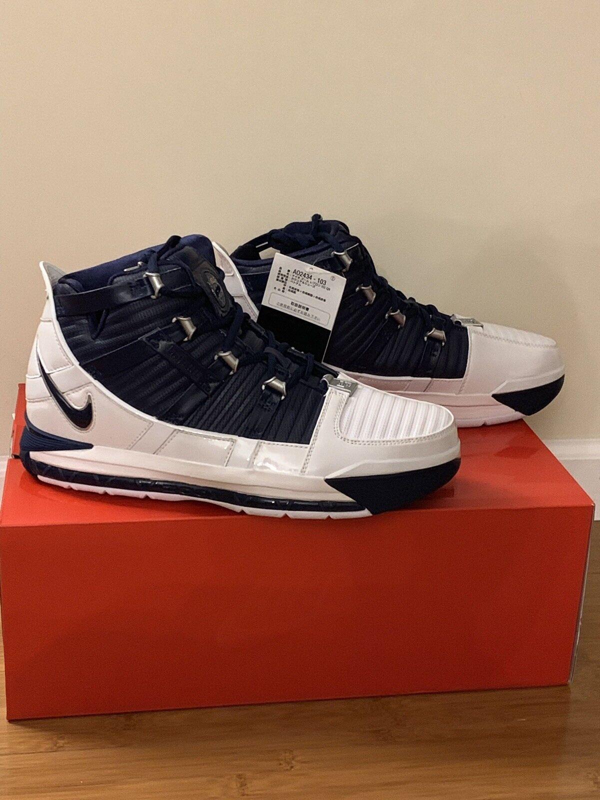 size 40 8041a eaaa9 Nike Nike Nike Zoom Lebron III 3 Retro WHITE NAVY, 2018, size 11.5,