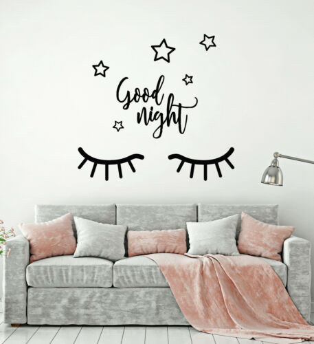 Vinyl Wall Decal Closed Eyes Good Night Stars Sleep Bedroom Stickers g917