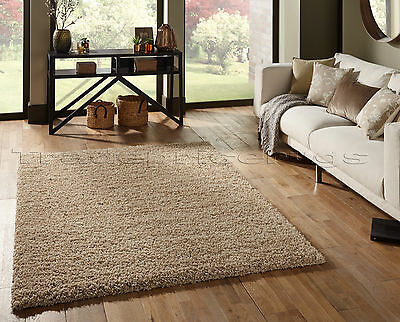Small Extra Large Thick Shaggy Shag Pile Beige Rug