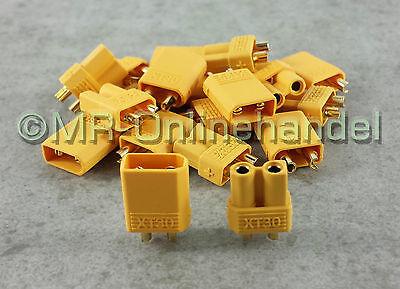 10 Paar ( 20 Stück ) Nylon XT30 Hochstrom Stecker Goldstecker + Buchse vergoldet