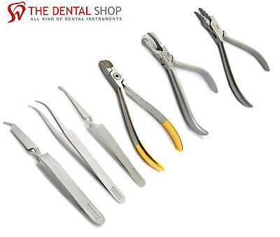 Set of 3 Dental Bracket Holding Tweezers Hardwire Cutter Tungsten Carbide Tip CE