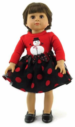 """Red /& Black Polka Dot Snowman Christmas Dress for 18/"""" American Girl Doll Clothes"""