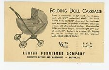 Lehigh Furniture Co—Folding Doll Carriage ADVERTISING Easton PA (Hole) 1930s-40s