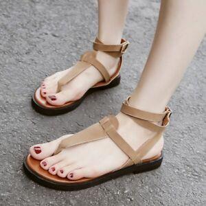 Womens Flat Ankle Strap Thong Roman