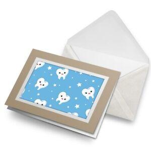 Greetings-Card-Biege-Pretty-Happy-Teeth-Dentist-Dental-Tooth-8730