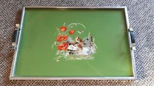 Antique-Art-Deco-Wooden-Serving-Tray-Poppies-Bird-and-Water-Scene-Under-Glass