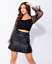 Womens-Ladies-Faux-Leather-Pleated-Belted-Mini-Skirt-8-14 thumbnail 3