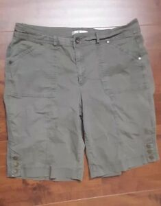 Christopher-amp-Banks-Bermuda-Shorts-Olive-Green-Stretch-Women-039-s-Size-14