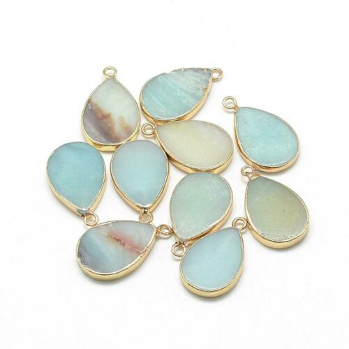20pc Natural Amazonite Pendant Drop Golden Jewelry Finding Charm Gemstone Making